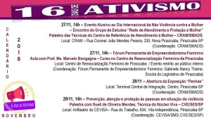 Calendário de Atividades  16 Dias de Ativismo