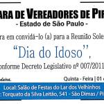 """Reunião Solene - Salão de festas Lar dos Velhinhos - 14 horas - """" Dia do Idoso """""""