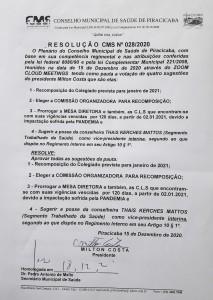 RESOLUÇÃO CMS-028 DE 15.12.2020