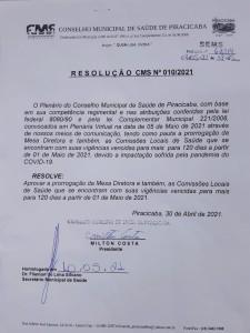 RESOLUÇÃO CMS 010/2021