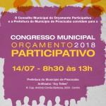 Congresso do Orçamento Participativo 2018 - convida a toda a comunidade para participar do Congresso do Orçamento Participativo.